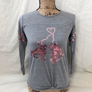 Pink bling ice skating 3/4 length tshirt